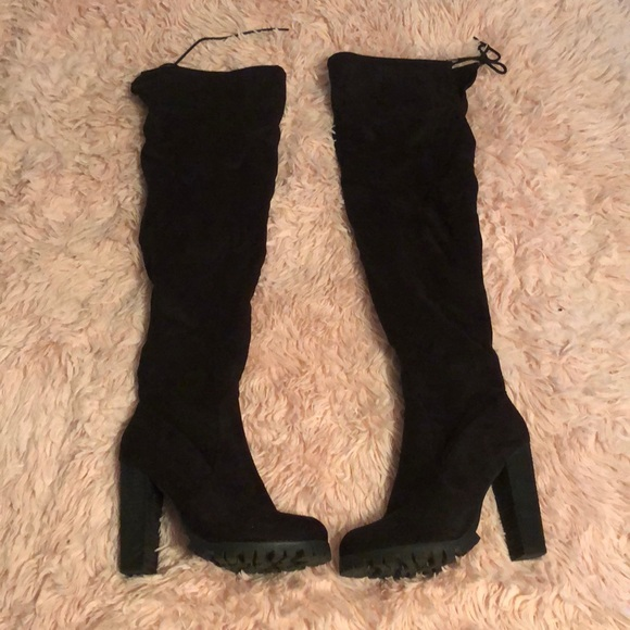 e2f44433492 Charlotte Russe Shoes - Black Chunky Heel Thigh High Boots